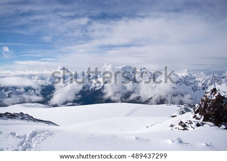 Elbrus. Winter. Snow. Mountains.
