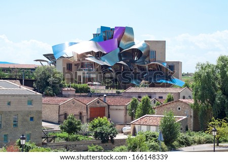 ELCIEGO, SPAIN - AUGUST 15 : The modern winery of Marques de Riscal on August 15 , 2013 in Basque Country, Spain. Project Frank Gehry, was built in 2007 . - stock photo