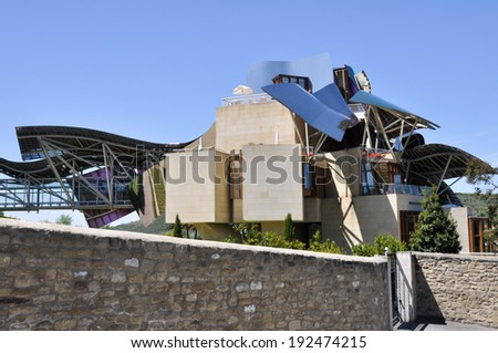 ELCIEGO, SPAIN - AUGUST 15 : The modern winery of Marques de Riscal on August 15 , 2013 in Basque Country, Spain. Project Frank Gehry, was built in 2007 .