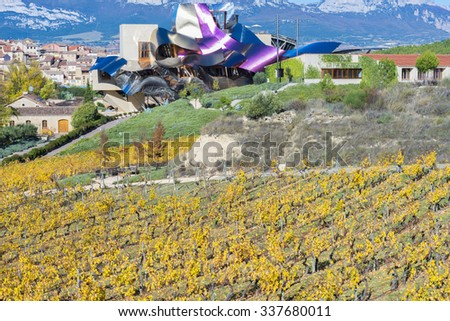 ELCIEGO, SPAIN - NOV 6: The modern winery of Marques de Riscal on November 6, 2015 in Elciego, Basque Country, Spain. This modern winery, designed by Frank Gehry, was built in 2007. - stock photo