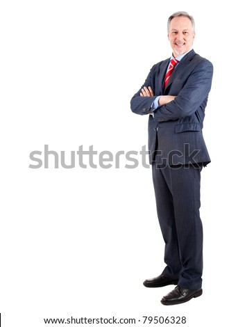 Elder businessman full length isolated on white - stock photo