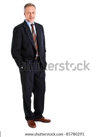 Elder businessman full length isolated on white - stock photo