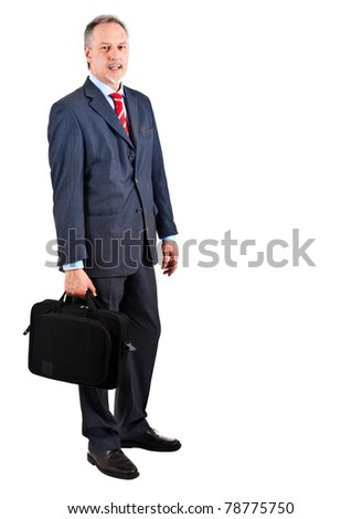 Elder businessman full length isolated on white holding a briefcase - stock photo