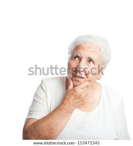elder woman thinking isolated on a white background - stock photo