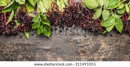Elderberries bunch with green leaves on rustic wooden background, top view, banner - stock photo