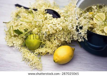 Elderflower, lemon, lime and pot for preparation medicinal syrup - stock photo