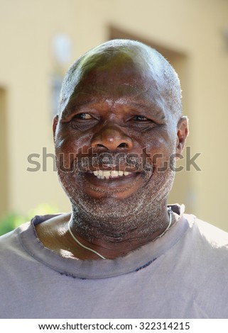 Elderly African man portrait in South Africa. - stock photo
