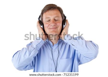 Elderly, aged senior man with headphones listen to mp3 music. Isolated on white background. - stock photo