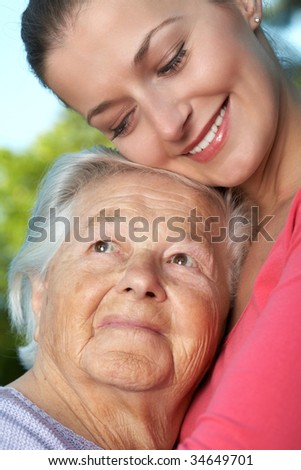 Elderly and young woman, portrait.