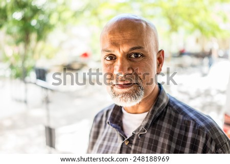 Elderly Arabic Pakistani man portrait - stock photo