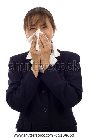 Elderly Asian woman with allergy or cold, isolated over white background - stock photo