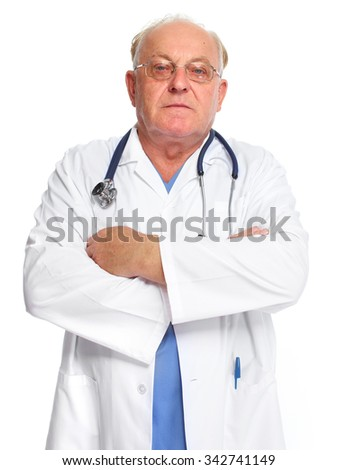 Elderly clinic doctor isolated over white background.