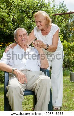 Elderly couple enjoying life together during retirement - stock photo