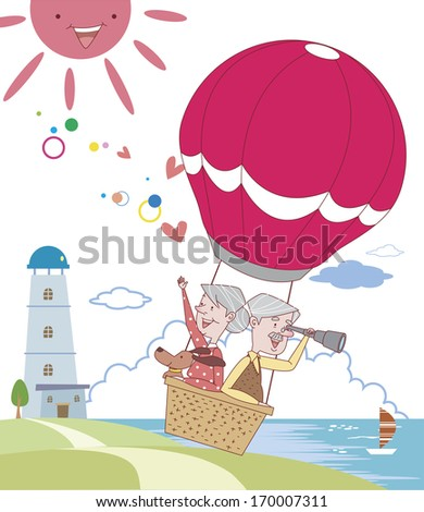 Elderly couple flying in a hot air balloon.