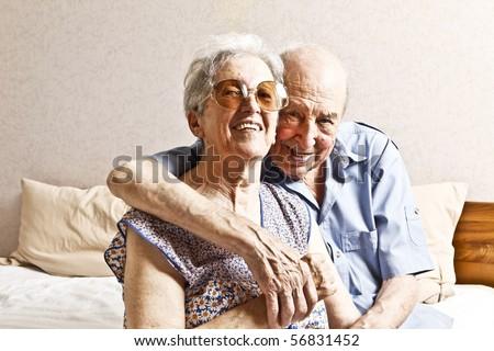 elderly couple in the bedroom - stock photo