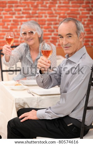 Elderly couple making a toast