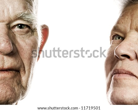 Elderly couple portrait. Isolated on white background - stock photo