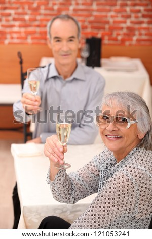 Elderly couple toasting each other in restaurant - stock photo