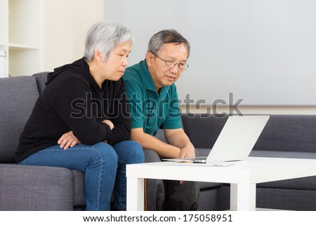 Elderly couple using laptop computer at home