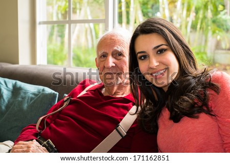 Teen girl with old man