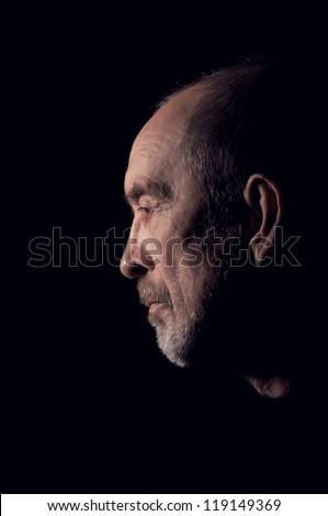 elderly gray man senior with beard in depression - stock photo