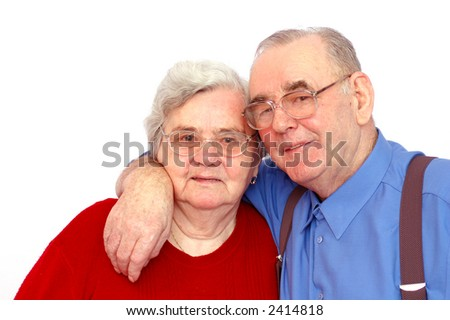Elderly happy couple, isolated on white background