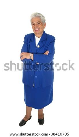 Elderly happy woman  full body isolated over white background - stock photo