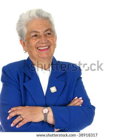 Elderly happy woman  over white background - stock photo