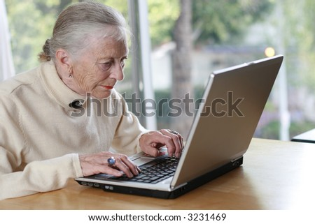 Elderly lady typing on laptop. Shallow DOF. - stock photo