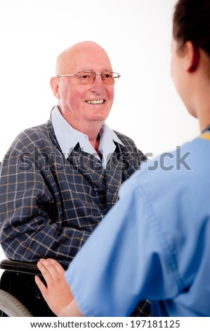 Elderly Male Patient With Nurse/Doctor - stock photo