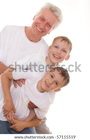 elderly man and boys on a white background
