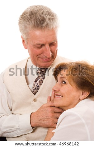 elderly man and woman  at each other white background