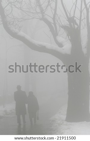 elderly man and woman walking in fog - stock photo