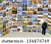 Elderly man going to an exit from an room with Mediterranean images - stock photo
