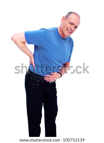 Elderly man having a Back pain. Isolated on white background. - stock photo