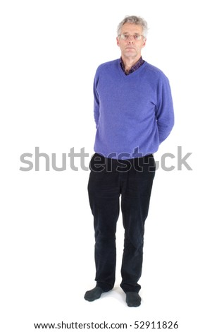 Elderly man in leisure clothing standing in the studio