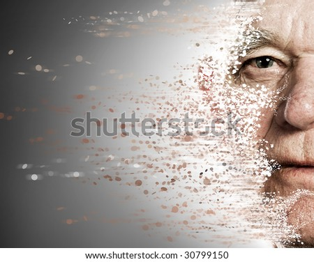 Elderly man's face falling apart. Aging concept - stock photo