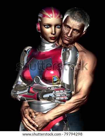Elderly man shirtless gray hair dressed in jeans wraps his arms around a beautiful female robot. Conceptual twilight zone type illustration on aging, eternal youth and technology - stock photo