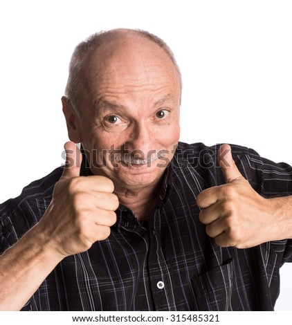 Elderly man showing ok sign on a white background