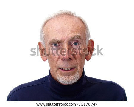 Elderly man with serious expression - stock photo