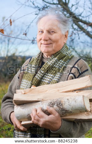 elderly men with firewood