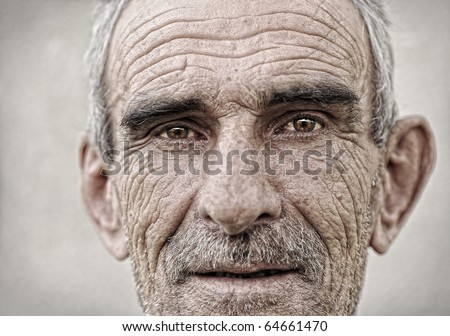 Elderly, old, mature man close up  portrait - stock photo