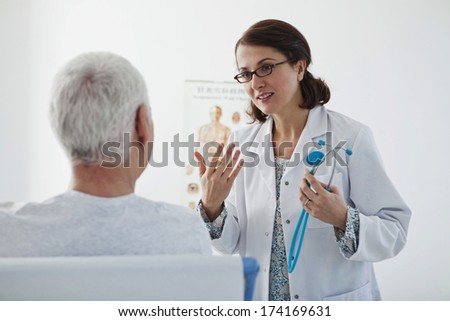 Elderly P. Consulting, Dialogue - stock photo