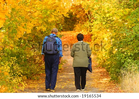 Elderly pair goes for a walk in the autumnal park - stock photo