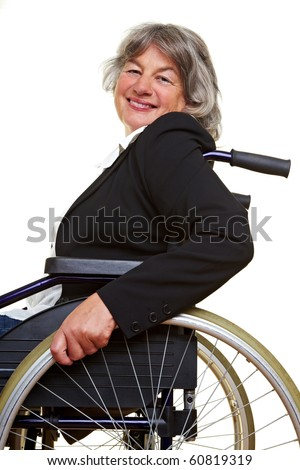 Elderly paraplegic woman sitting in a wheelchair