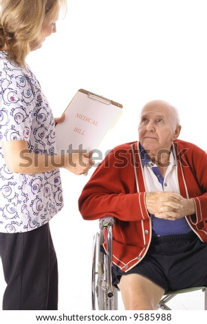 elderly patient talking to nurse - stock photo