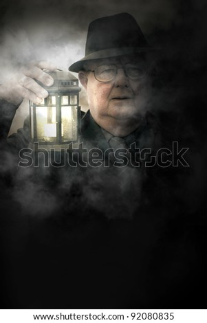 Elderly Person Gets Freaked Out When Walking Though Mist At A Creepy Haunted Field During The Twilight Of Halloween, When In Fear Of The Fog - stock photo