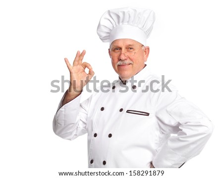 Elderly professional chef man. Isolated over white background - stock photo