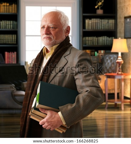 Elderly professor with books leaving library room. - stock photo