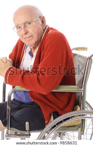 elderly senior in wheelchair - stock photo